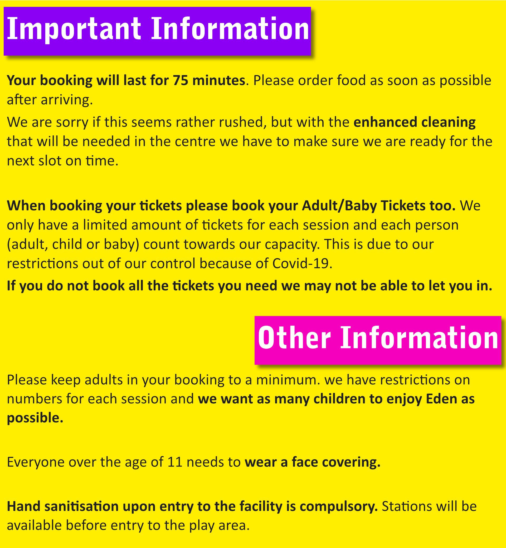 Information about Booking